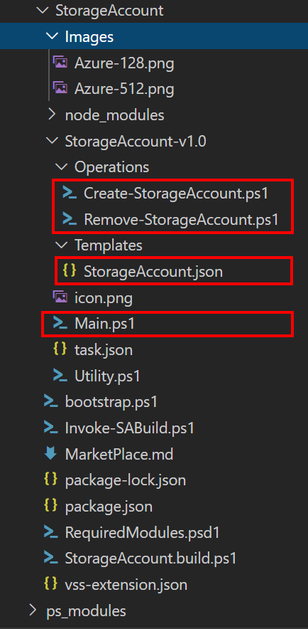 Image of files for Storage Account Extension