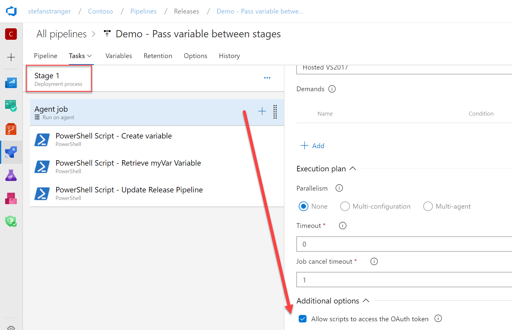 Passing variables from stage to stage in Azure DevOps Release