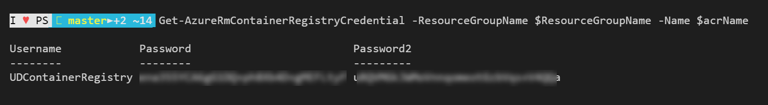 Container Registry Credential Screenshot