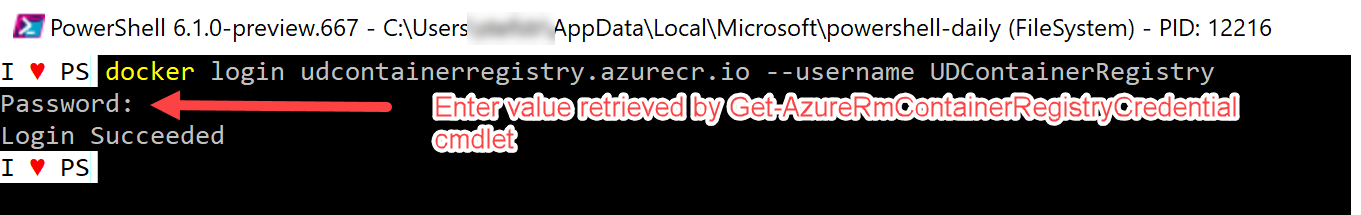 login to azure container registry screenshot